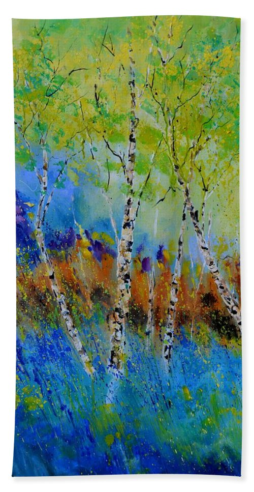 Nature Hand Towel featuring the painting A few aspen trees by Pol Ledent