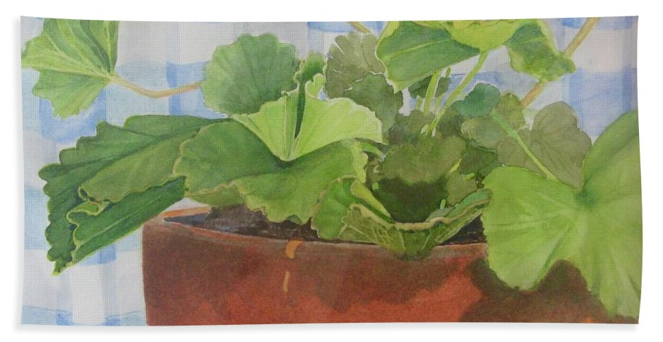 Flowers Bath Sheet featuring the painting A Geranium is a Geranium is a Geranium...... by Mary Ellen Mueller Legault