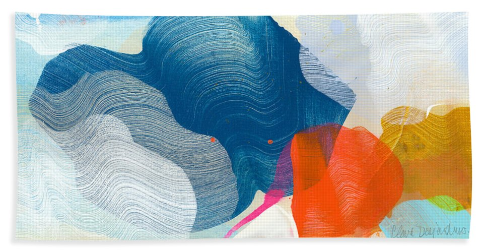 Abstract Hand Towel featuring the painting A Little Adventure by Claire Desjardins
