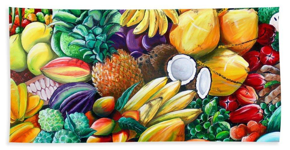 Caribbean Fruit Painting Tropical Fruit Painting Caribbean Pineapple Mangoes Bananas Coconut Watermelon Tropical Fruit Painting Hand Towel featuring the painting A Taste Of The Islands by Karin Dawn Kelshall- Best