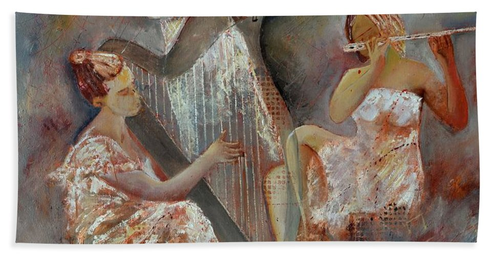 Music Hand Towel featuring the painting A trio by Pol Ledent