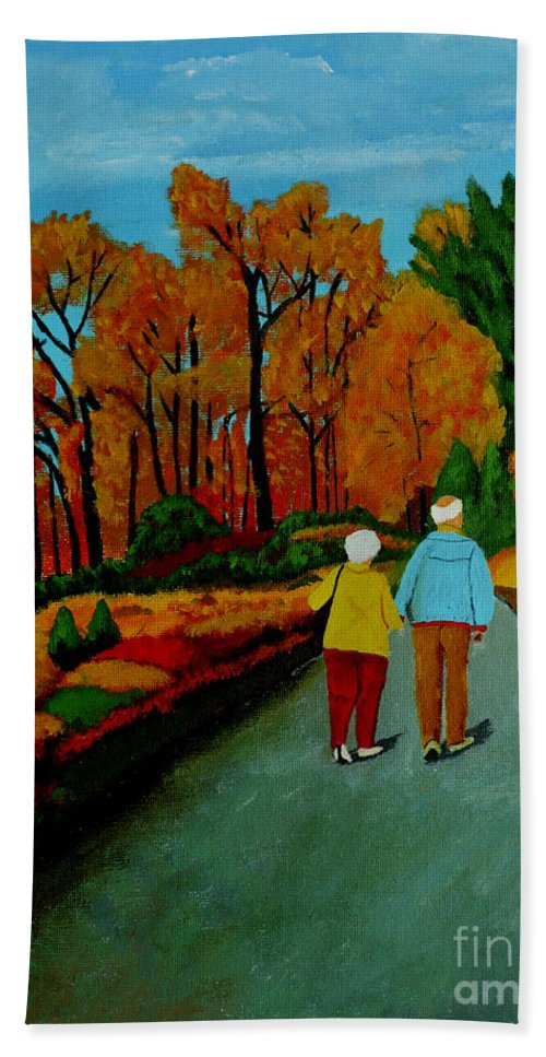 Autumn Hand Towel featuring the painting A Walk amongst the Gold by Anthony Dunphy