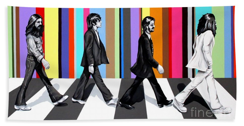 The Beatles Bath Towel featuring the painting Abbey Road Technicolor by Amy Belonio
