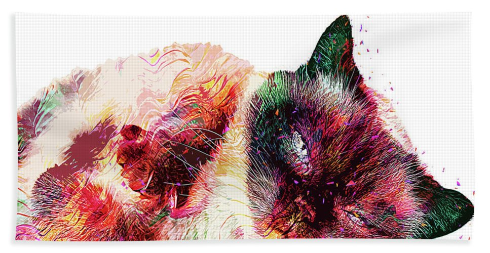 Cat Bath Towel featuring the digital art Abstract Lazy Cat by Trindira A