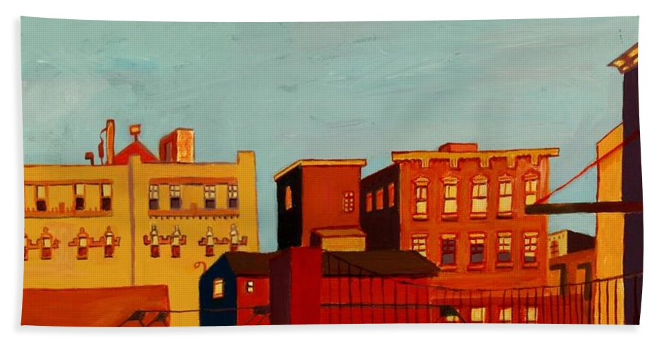 Landscape Hand Towel featuring the painting Across the Canal by Debra Bretton Robinson