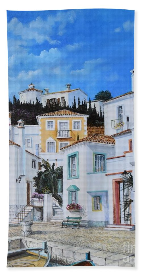 City Bath Towel featuring the painting Afternoon Light In Montenegro by Sinisa Saratlic