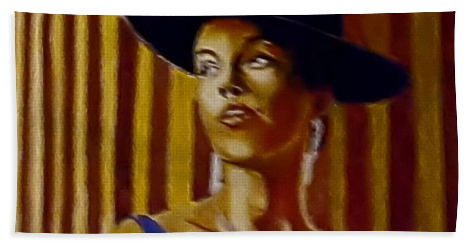 Portrait Bath Towel featuring the painting Alica by Andrew Johnson