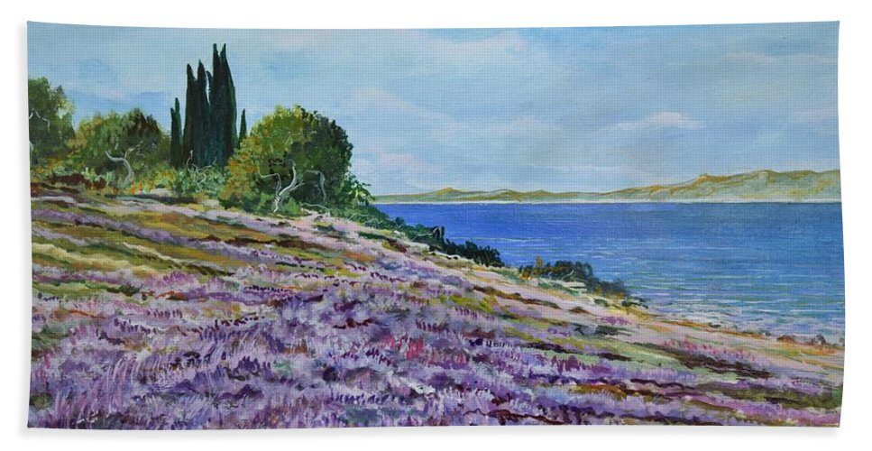 Landscape Bath Towel featuring the painting Along The Shore by Sinisa Saratlic