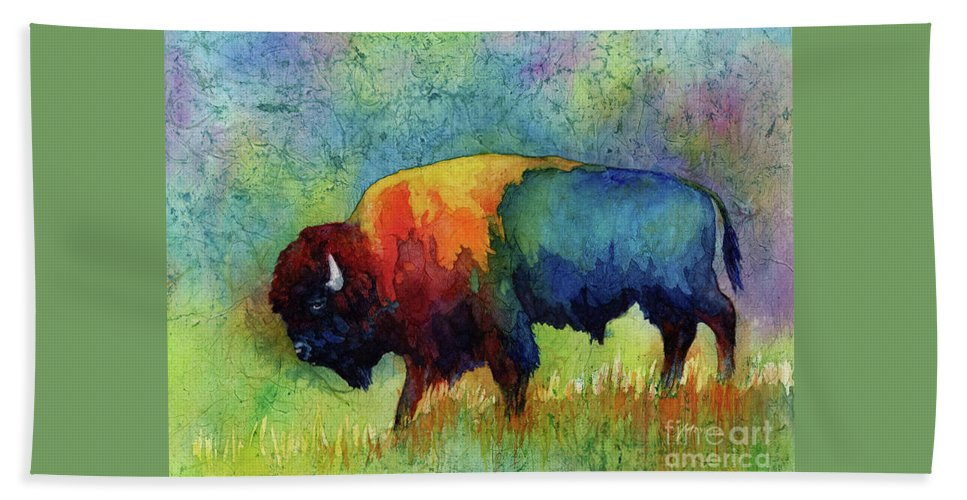 Bison Bath Towel featuring the painting American Buffalo III by Hailey E Herrera