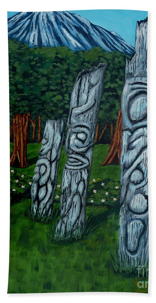 Religion Hand Towel featuring the painting Ancient Totem by Anthony Dunphy
