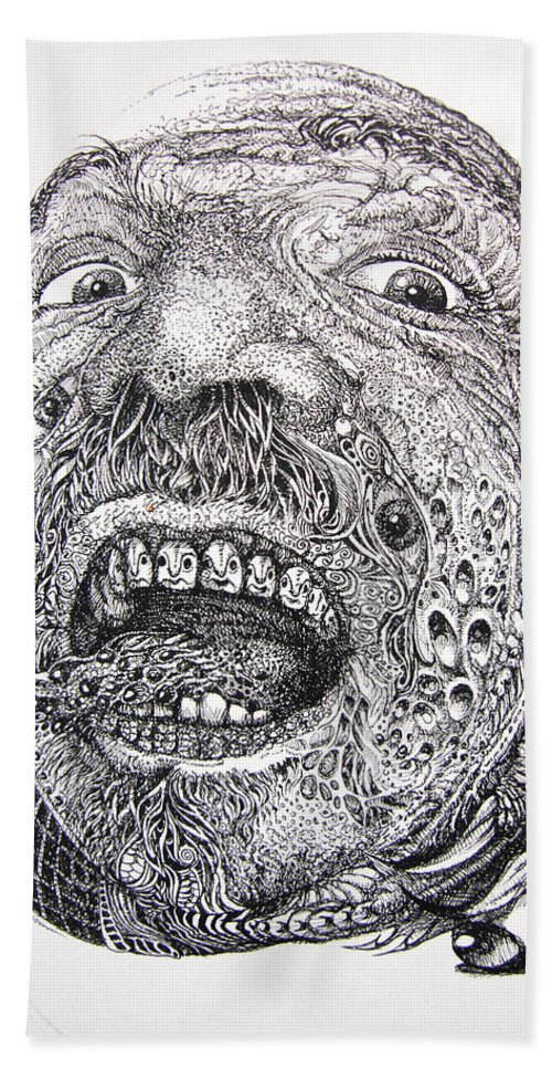 Surrealist Bath Towel featuring the drawing Antipods Screamer by Otto Rapp