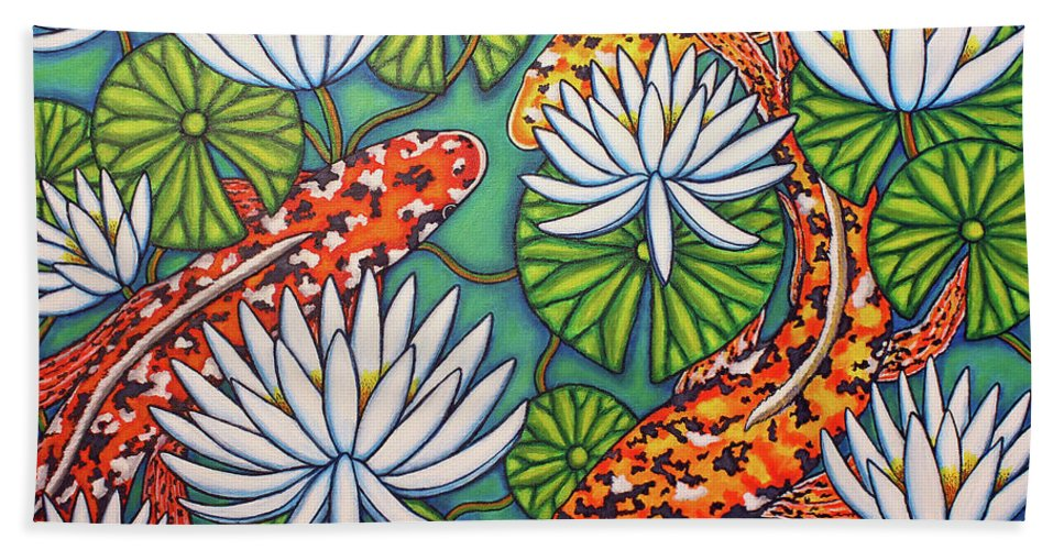 Koi Hand Towel featuring the painting Aquatic Jewels by Lisa Lorenz