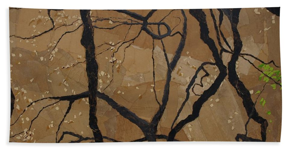 Abstract Tree Branches Hand Towel featuring the painting Arboretum Dancers by Leah Tomaino