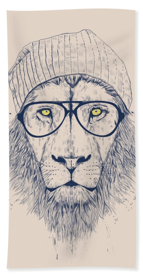 Lion Bath Towel featuring the drawing Cool lion by Balazs Solti