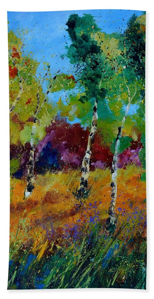 Landscape Bath Towel featuring the painting Aspen trees in autumn by Pol Ledent