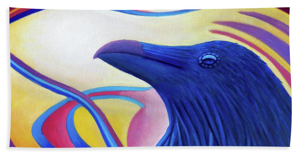 Raven Bath Sheet featuring the painting Astral Raven by Brian Commerford