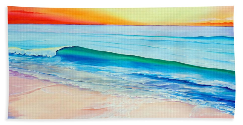 Sunset Painting Sea Painting Beach Painting Sunset Painting  Waves Painting Beach Painting Seaside Painting Seagulls Painting Hand Towel featuring the painting At the end of a perfect day by Karin Dawn Kelshall- Best