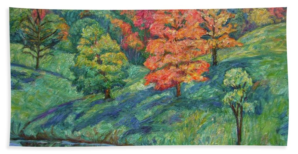 Landscape Bath Sheet featuring the painting Autumn Pond by Kendall Kessler