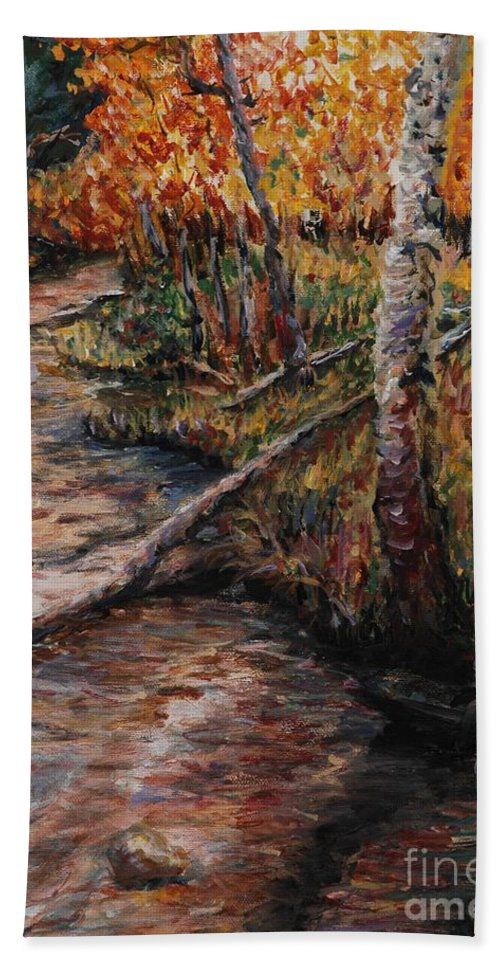 Landscape Bath Sheet featuring the painting Autumn Reflections by Nadine Rippelmeyer