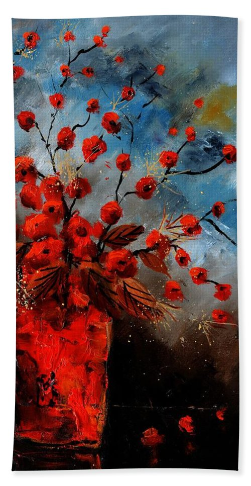 Still Life Hand Towel featuring the painting Autumnal still life 5689 by Pol Ledent
