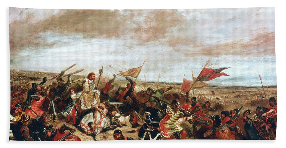 Poitiers Bath Towel featuring the painting Battle of Poitiers on September 19, 1356 by Ferdinand Victor Eugene Delacroix