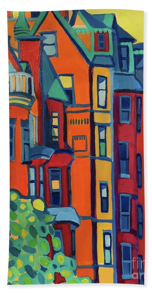 Architecture Hand Towel featuring the painting Beacon Street Back Bay Boston by Debra Bretton Robinson