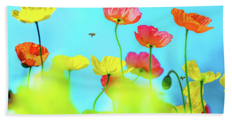 Colorful Poppy Flower Bath Towel featuring the photograph Bee Haven by Az Jackson