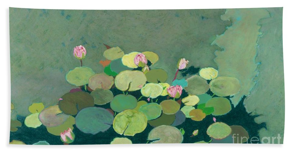 Landscape Bath Sheet featuring the painting Bettys Serenity Pond by Allan P Friedlander