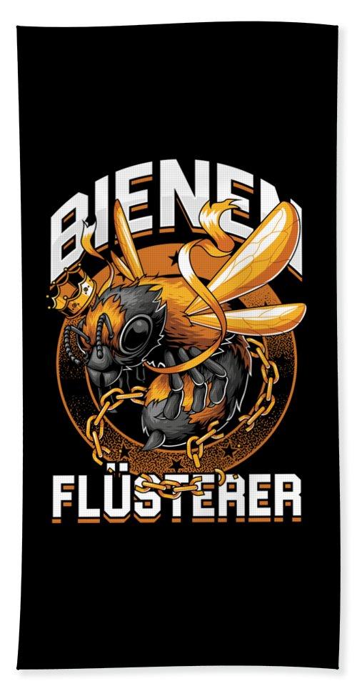 Bee Bath Towel featuring the digital art Bienen Flsterer Bee Beekeeper Honeycomb Gift by Thomas Larch