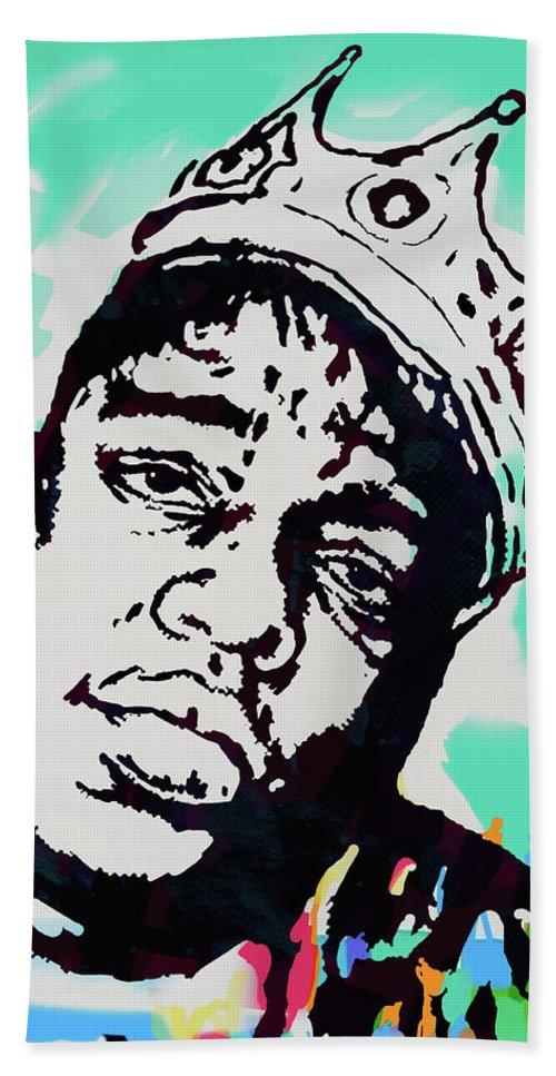 Biggie Smalls Colour Drawing Art Poster - Pop Art Bath Towel featuring the mixed media Biggie Smalls - pop art poster 1 by Kim Wang