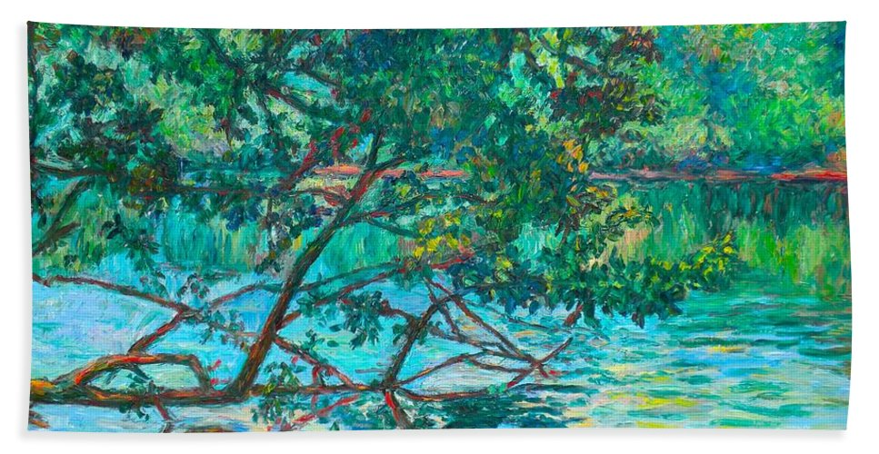 Landscape Bath Towel featuring the painting Bisset Park by Kendall Kessler