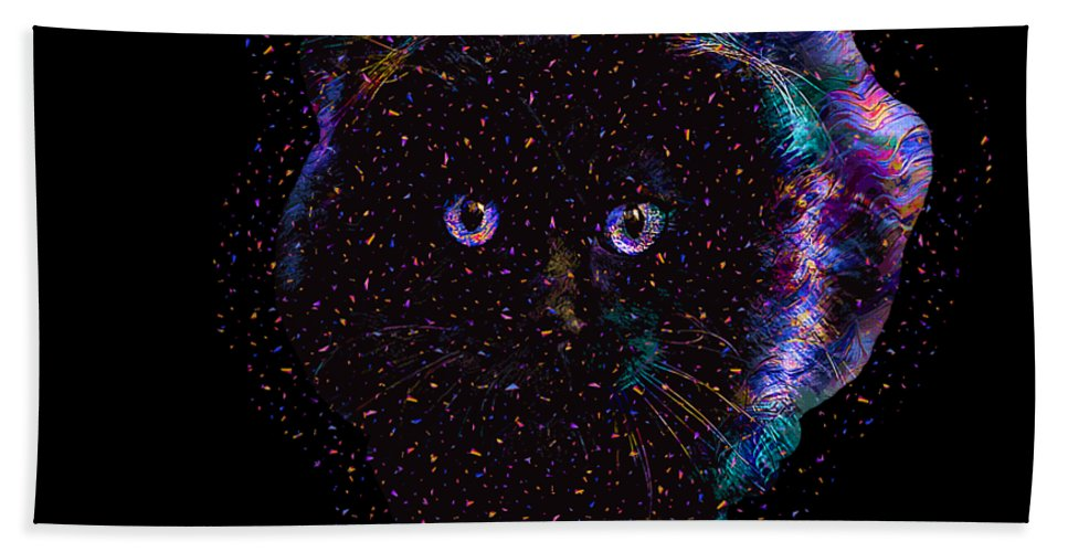 Cat Bath Towel featuring the digital art Black Abstract Cat by Trindira A