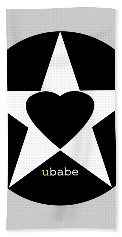 American Love Heart Bath Towel featuring the painting Black love by Charles Stuart