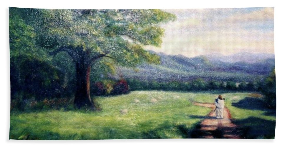 Christian Hand Towel featuring the painting Black Sheep by Gail Kirtz