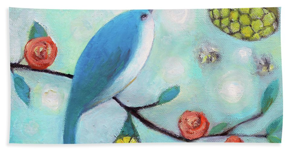 Blue Hand Towel featuring the painting Blue Bird by Manami Lingerfelt