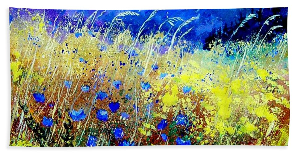 Poppies Bath Towel featuring the painting Blue cornflowers 67 by Pol Ledent
