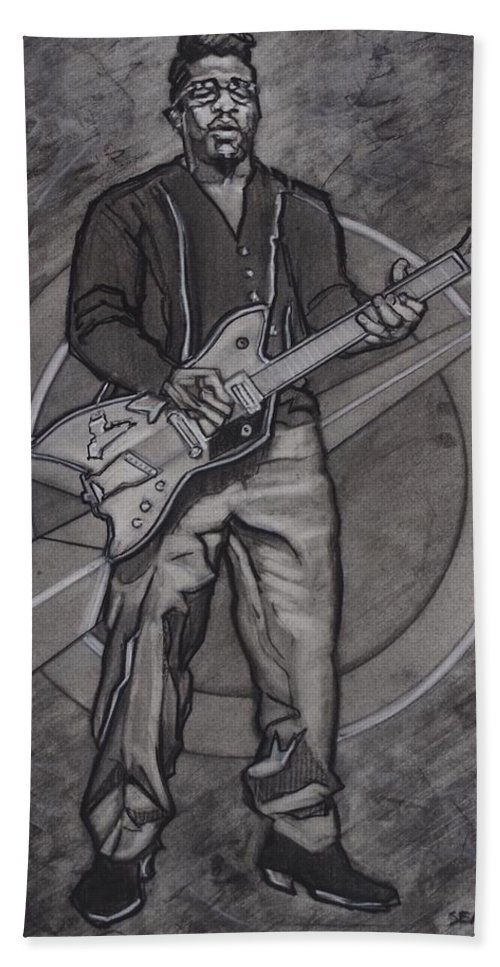 Texas Hand Towel featuring the drawing Bo Diddley - Have Guitar Will Travel by Sean Connolly