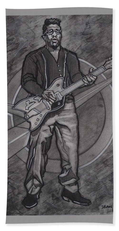 Texas Bath Sheet featuring the drawing Bo Diddley - Have Guitar Will Travel by Sean Connolly