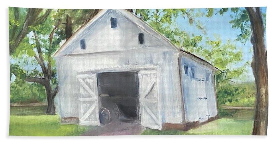 Washington Crossing Bath Sheet featuring the painting Boat Barn by Sheila Mashaw