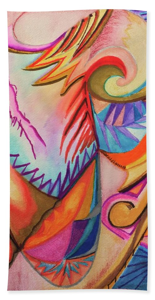 Impressionist Hand Towel featuring the drawing Boomerang by Suzanne Udell Levinger
