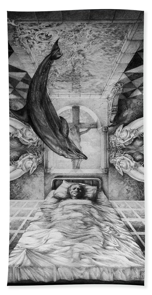 Surrealism Bath Sheet featuring the drawing Botticellis Dream by Otto Rapp