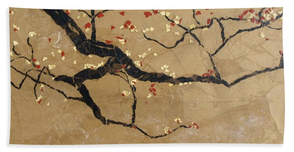 Blooming Branch Hand Towel featuring the painting Branch by Leah Tomaino