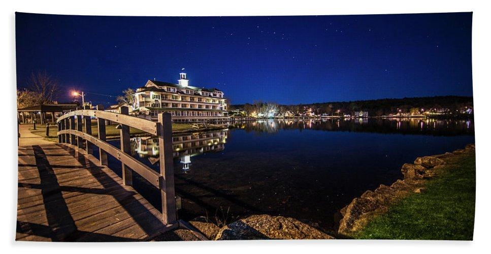 Bridge Bath Towel featuring the photograph Bridge Over The Bay - Meredith, NH by Trevor Slauenwhite