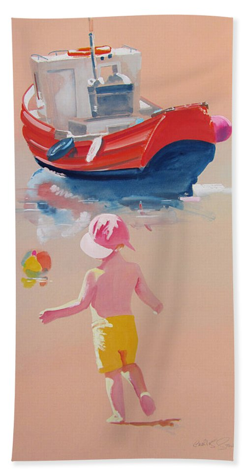 Boat Bath Towel featuring the painting Bridlinton Red by Charles Stuart