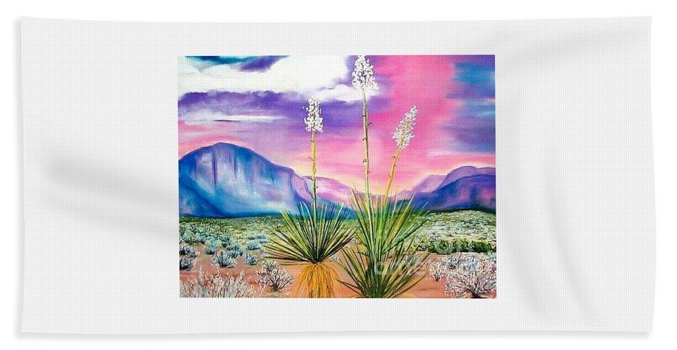 Desert Bath Towel featuring the painting Bright Desert by Melinda Etzold