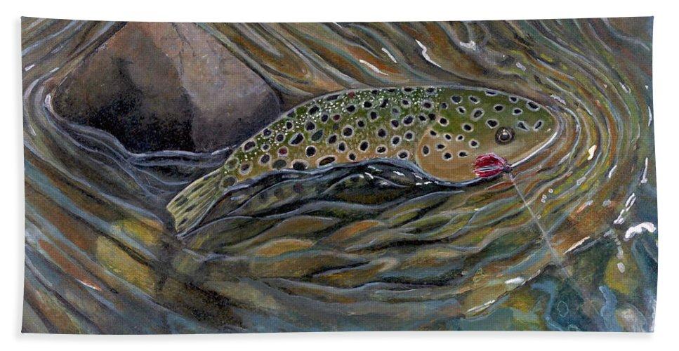 Rick Huotari Bath Sheet featuring the painting Brown II by Rick Huotari