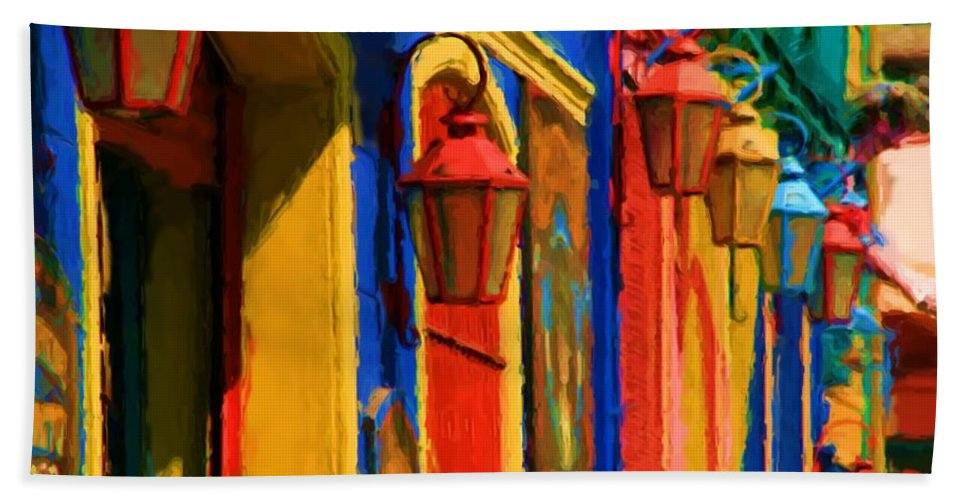 Buenos Aires Bath Towel featuring the mixed media Buenos Aires by Asbjorn Lonvig
