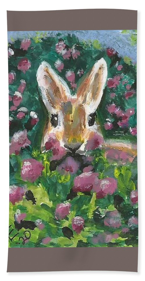 Bunny Painting Bath Towel featuring the painting Bunny by Monica Resinger