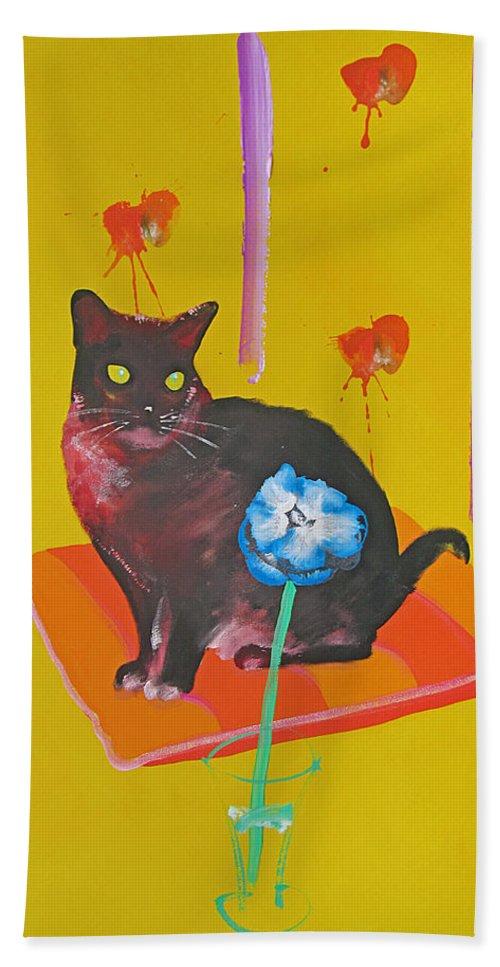 Burmese Cat Bath Towel featuring the painting Burmese Cat on a Cushion by Charles Stuart