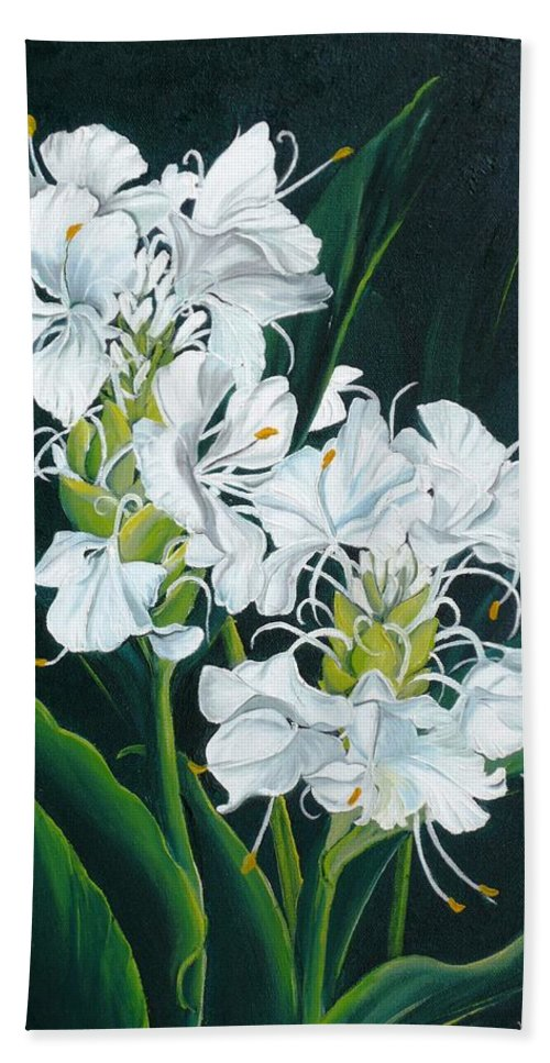 Caribbean Painting Butterfly Ginger Painting Floral Painting Botanical Painting Flower Painting Water Ginger Painting Or Water Ginger Tropical Lily Painting Original Oil Painting Trinidad And  Tobago Painting Tropical Painting Lily Painting White Flower Painting Hand Towel featuring the painting Butterfly Ginger by Karin Dawn Kelshall- Best